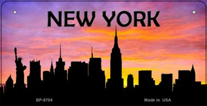 New York Silhouette Novelty Metal Bicycle Plate BP-8704