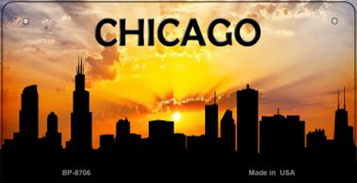 Chicago Silhouette Novelty Metal Bicycle Plate BP-8706