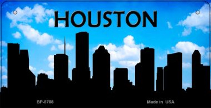 Houston Silhouette Novelty Metal Bicycle Plate BP-8708