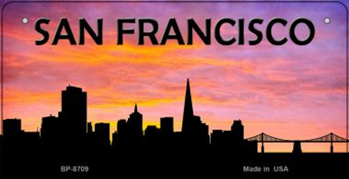 San Francisco Silhouette Novelty Metal Bicycle Plate BP-8709