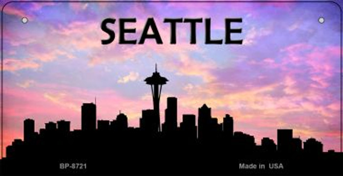 Seattle Silhouette Novelty Metal Bicycle Plate BP-8721