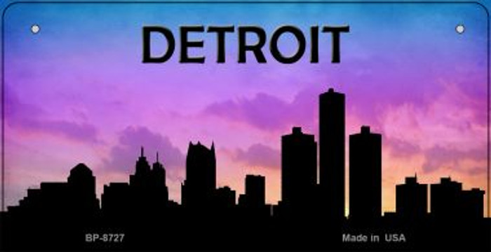 Detroit Silhouette Novelty Metal Bicycle Plate BP-8727