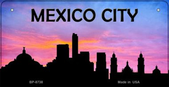 Mexico City Silhouette Novelty Metal Bicycle Plate BP-8738