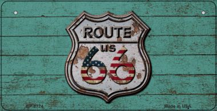 Route 66 Wood Rusty Logo Novelty Metal Bicycle Plate BP-8774