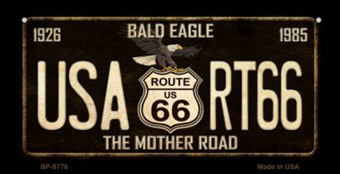 Route 66 Bald Eagle Novelty Metal Bicycle Plate BP-8776