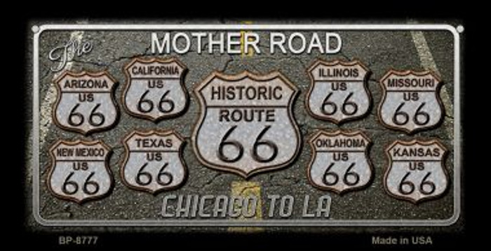 Route 66 Black Top Novelty Metal Bicycle Plate BP-8777
