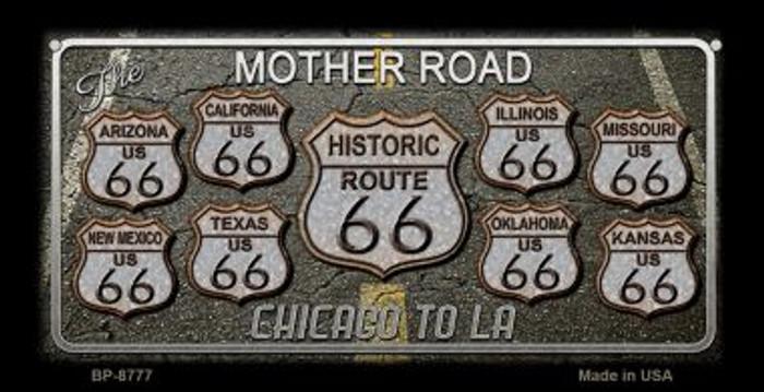 Route 66 Black Top Novelty Metal Bicycle Plate BP-8777