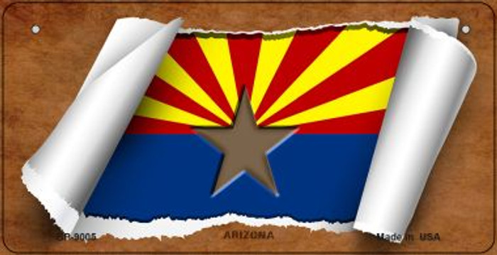 Arizona Flag Scroll Novelty Metal Bicycle Plate BP-9005