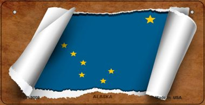 Alaska Flag Scroll Novelty Metal Bicycle Plate BP-9009