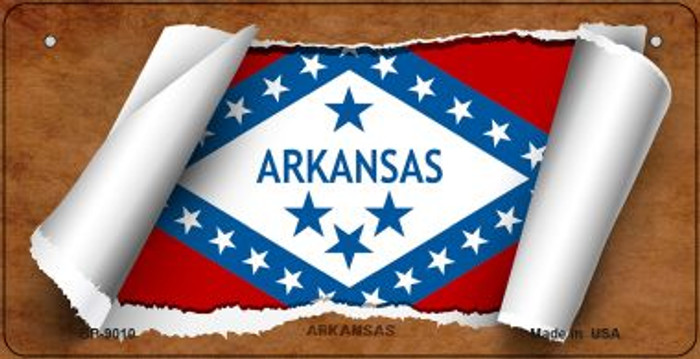 Arkansas Flag Scroll Novelty Metal Bicycle Plate BP-9010