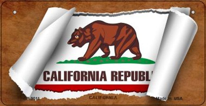 California Flag Scroll Novelty Metal Bicycle Plate BP-9011
