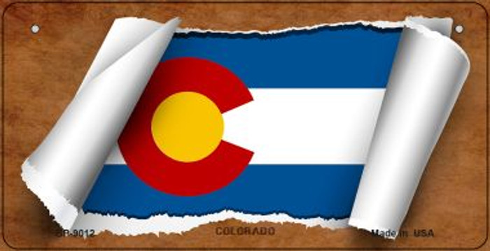 Colorado Flag Scroll Novelty Metal Bicycle Plate BP-9012