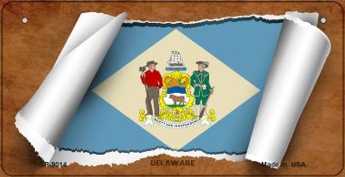 Delaware Flag Scroll Novelty Metal Bicycle Plate BP-9014