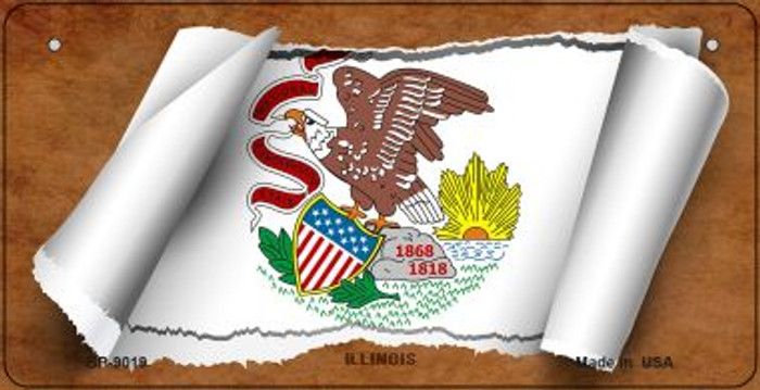Illinois Flag Scroll Novelty Metal Bicycle Plate BP-9019