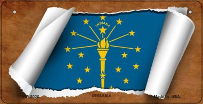 Indiana Flag Scroll Novelty Metal Bicycle Plate BP-9020