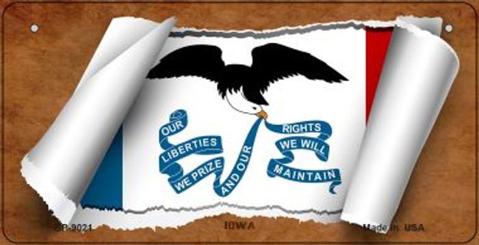 Iowa Flag Scroll Novelty Metal Bicycle Plate BP-9021