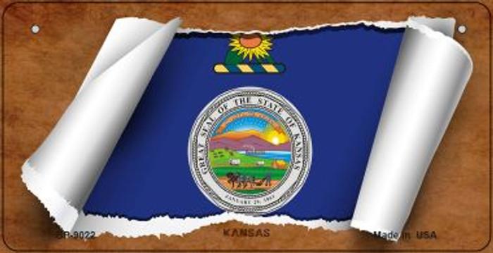 Kansas Flag Scroll Novelty Metal Bicycle Plate BP-9022