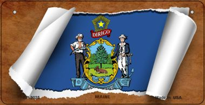 Maine Flag Scroll Novelty Metal Bicycle Plate BP-9025