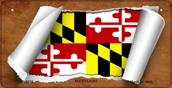 Maryland Flag Scroll Novelty Metal Bicycle Plate BP-9026