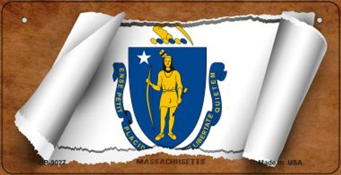 Massachusetts Flag Scroll Novelty Metal Bicycle Plate BP-9027