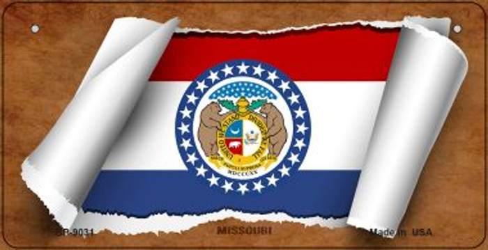 Missouri Flag Scroll Novelty Metal Bicycle Plate BP-9031