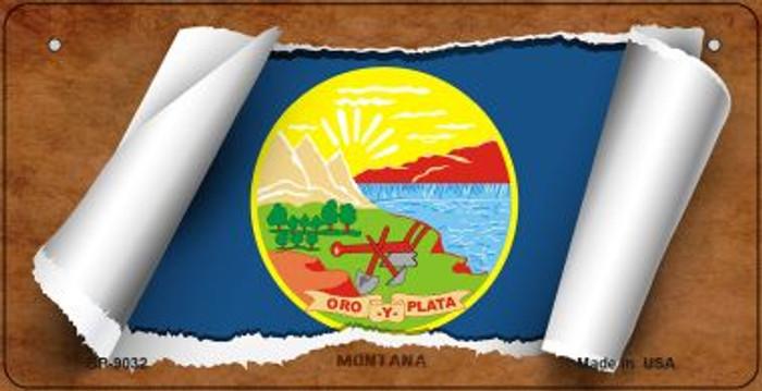 Montana Flag Scroll Novelty Metal Bicycle Plate BP-9032