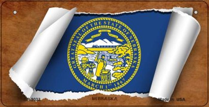 Nebraska Flag Scroll Novelty Metal Bicycle Plate BP-9033