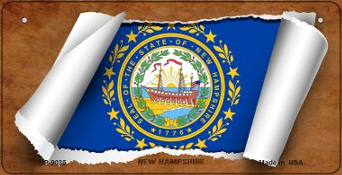New Hampshire Flag Scroll Novelty Metal Bicycle Plate BP-9035