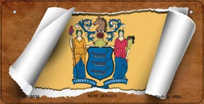 New Jersey Flag Scroll Novelty Metal Bicycle Plate BP-9036