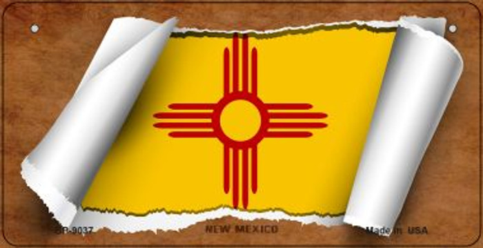 New Mexico Flag Scroll Novelty Metal Bicycle Plate BP-9037