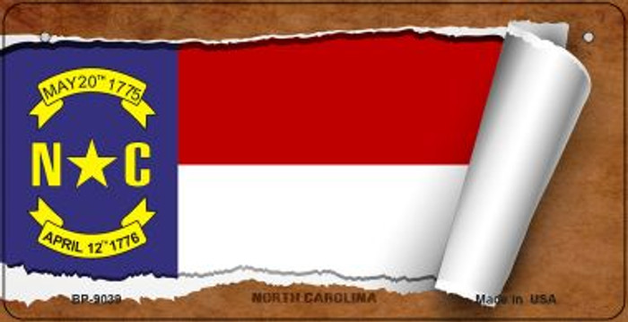 North Carolina Flag Scroll Novelty Metal Bicycle Plate BP-9039