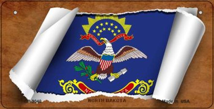 North Dakota Flag Scroll Novelty Metal Bicycle Plate BP-9040