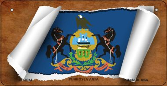 Pennsylvania Flag Scroll Novelty Metal Bicycle Plate BP-9044