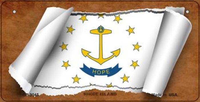 Rhode Island Flag Scroll Novelty Metal Bicycle Plate BP-9045