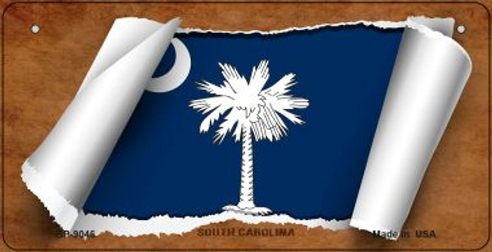 South Carolina Flag Scroll Novelty Metal Bicycle Plate BP-9046