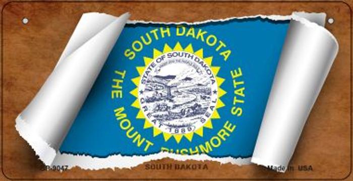 South Dakota Flag Scroll Novelty Metal Bicycle Plate BP-9047