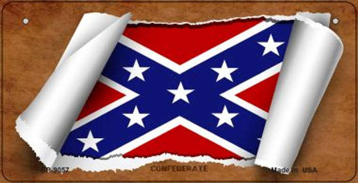Confederate Flag Scroll Novelty Metal Bicycle Plate BP-9057