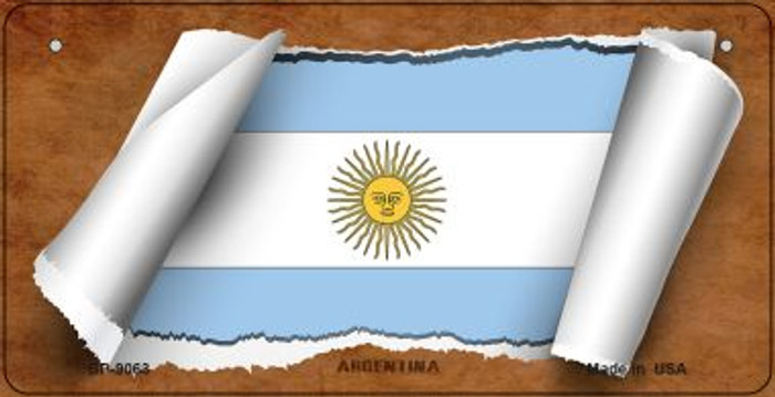 Argentina Flag Scroll Novelty Metal Bicycle Plate BP-9063