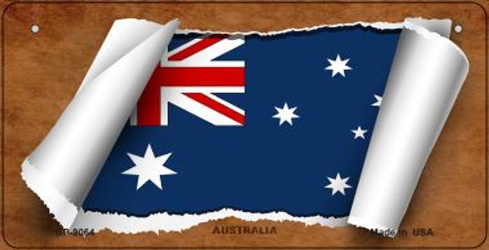 Australia Flag Scroll Novelty Metal Bicycle Plate BP-9064