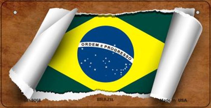 Brazil Flag Scroll Novelty Metal Bicycle Plate BP-9068