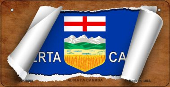 Alberta Canada Flag Scroll Novelty Metal Bicycle Plate BP-9090