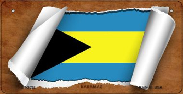 Bahamas Flag Scroll Novelty Metal Bicycle Plate BP-9093