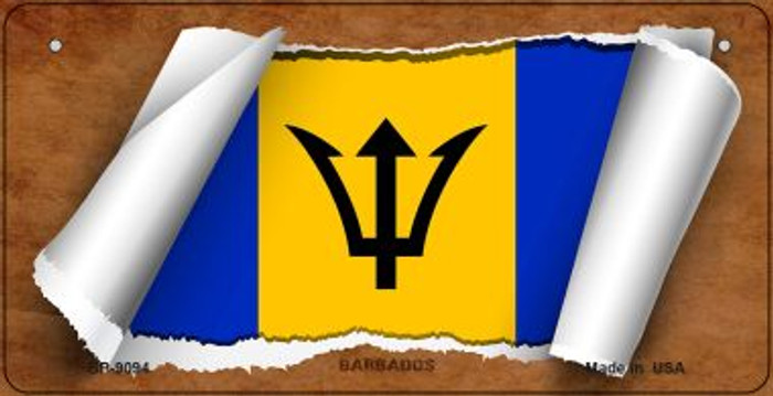 Barbados Flag Scroll Novelty Metal Bicycle Plate BP-9094