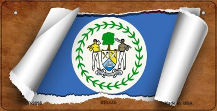 Belize Flag Scroll Novelty Metal Bicycle Plate BP-9095