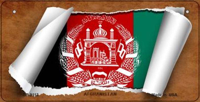 Afghanistan Flag Scroll Novelty Metal Bicycle Plate BP-9113