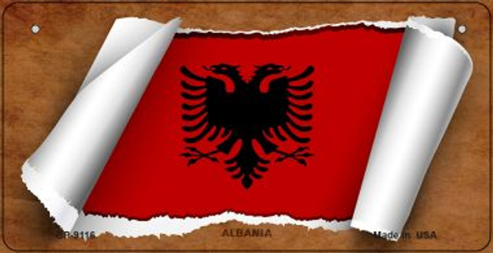 Albania Flag Scroll Novelty Metal Bicycle Plate BP-9116