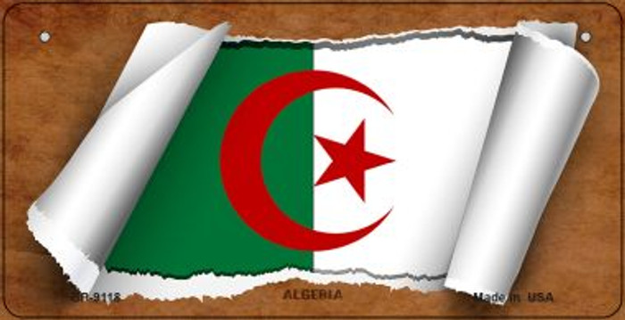 Algeria Flag Scroll Novelty Metal Bicycle Plate BP-9118