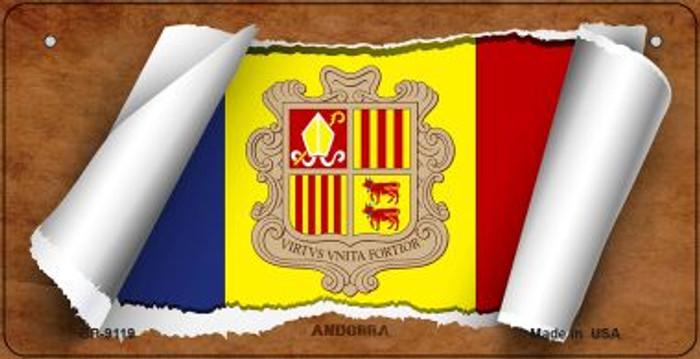 Andorra Flag Scroll Novelty Metal Bicycle Plate BP-9119