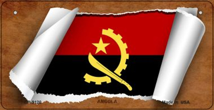 Angola Flag Scroll Novelty Metal Bicycle Plate BP-9120