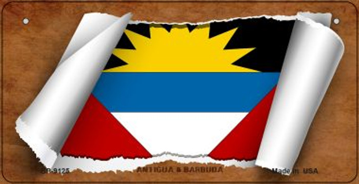 Antigua & Barbuda Flag Scroll Novelty Metal Bicycle Plate BP-9125